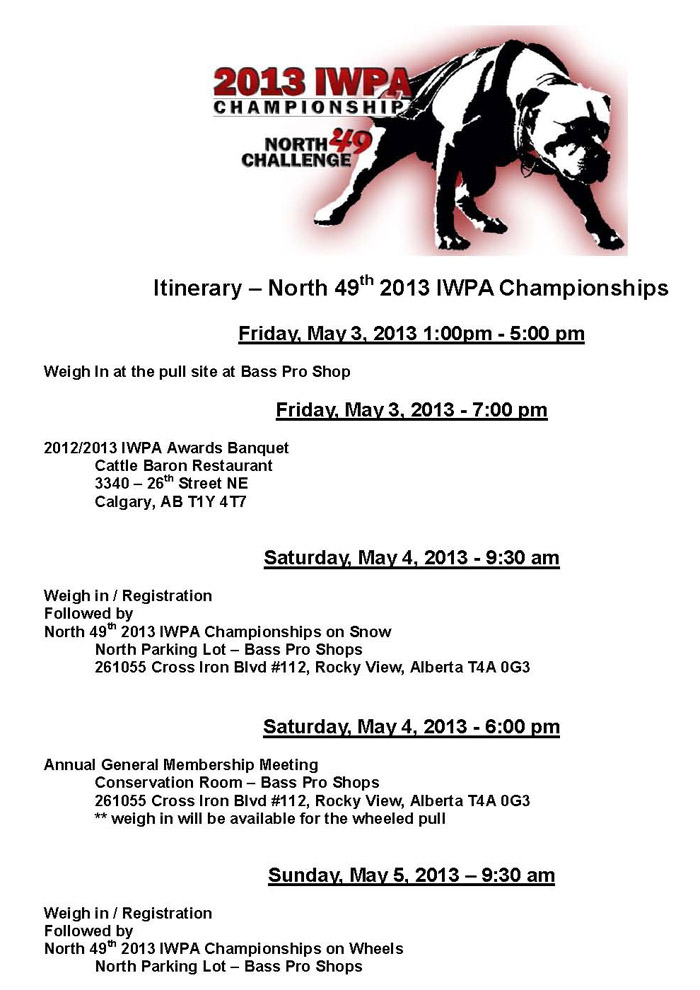 Itinerary � North 49th 2013 IWPA Championships